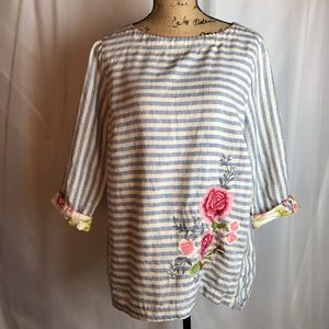 J Jill Love Linen Embroidered Tunic